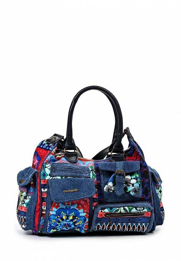 Женская синяя кожаная сумка Desigual
