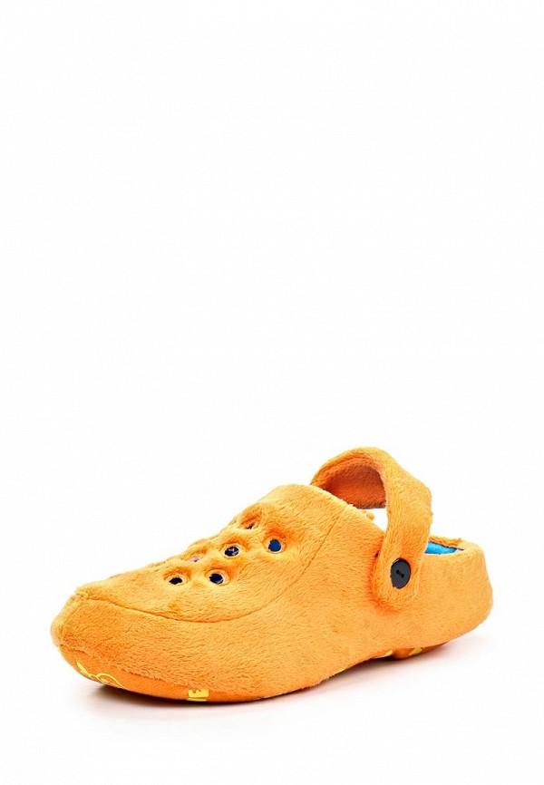 Женские оранжевые осенние текстильные тапочки