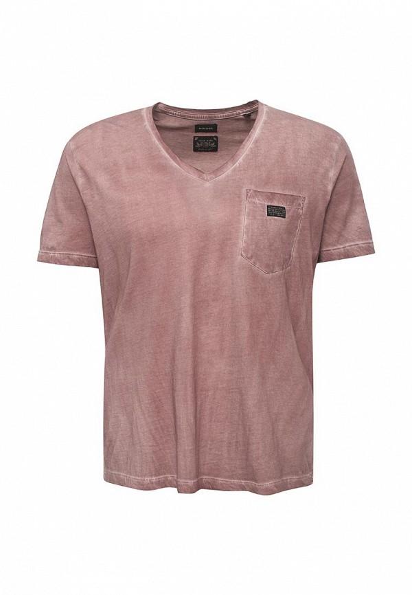 Купить мужскую футболку Diesel бордового цвета