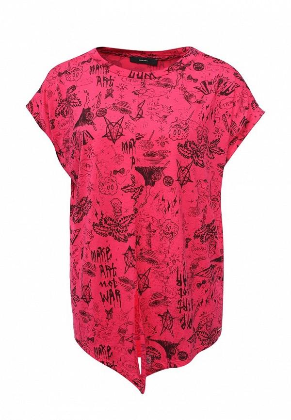 Купить женскую футболку Diesel цвета фуксия