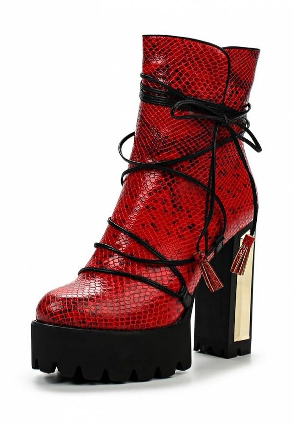 Женские красные осенние кожаные ботильоны на платформе
