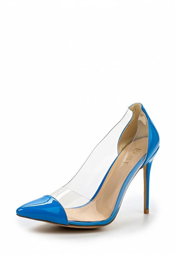 Женские голубые лаковые прозрачные туфли на каблуке