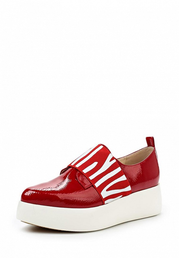 Женские красные осенние кожаные ботинки на платформе