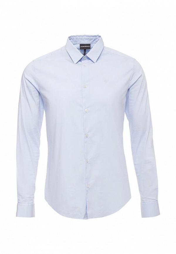 Фото - мужскую рубашку Emporio Armani голубого цвета