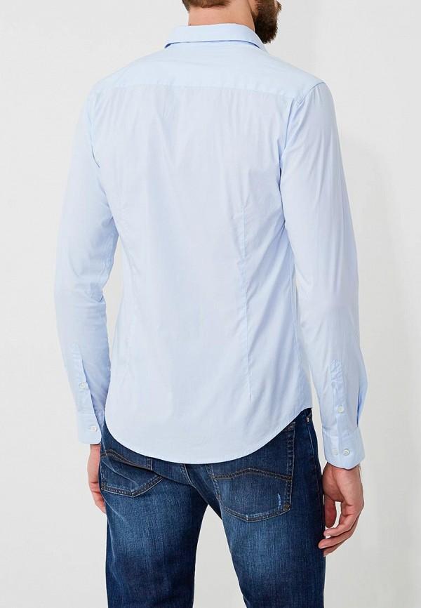 Фото 4 - мужскую рубашку Emporio Armani голубого цвета