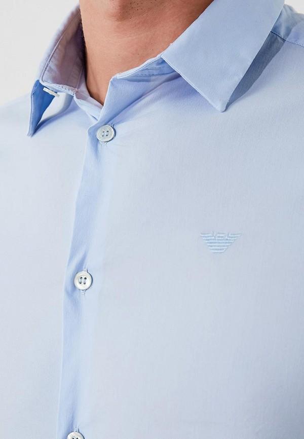 Фото 5 - мужскую рубашку Emporio Armani голубого цвета
