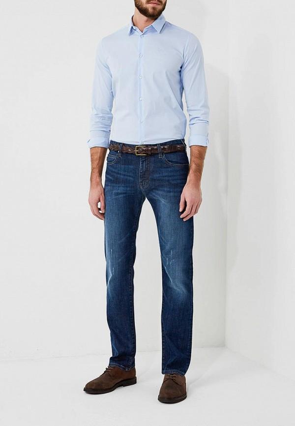 Фото 7 - мужскую рубашку Emporio Armani голубого цвета