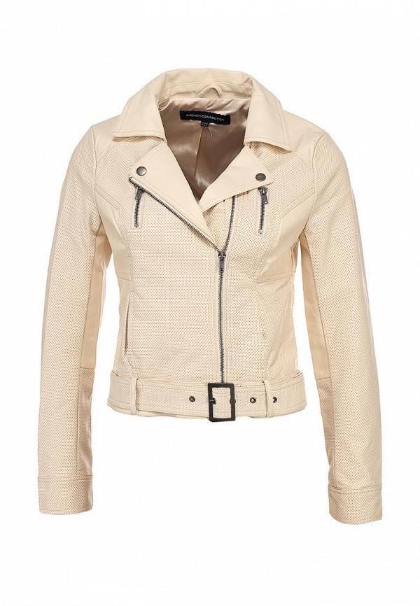 Куртка кожаная French Connection FR003EWARA50. Цвет: бежевый