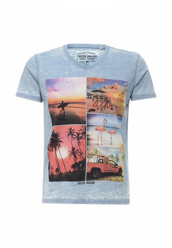 Купить мужскую футболку Fresh Brand голубого цвета