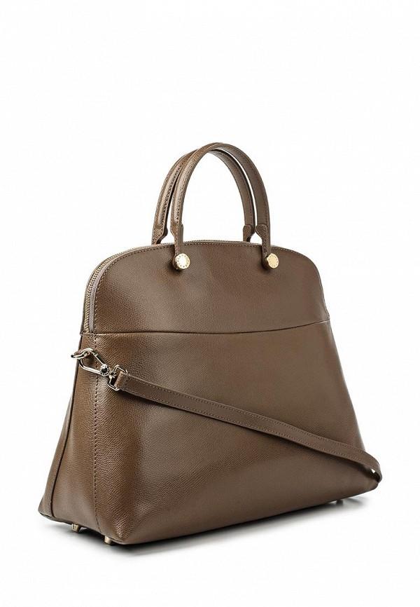 Коричневая кожаная сумка шоппер Furla купить за 16100 руб
