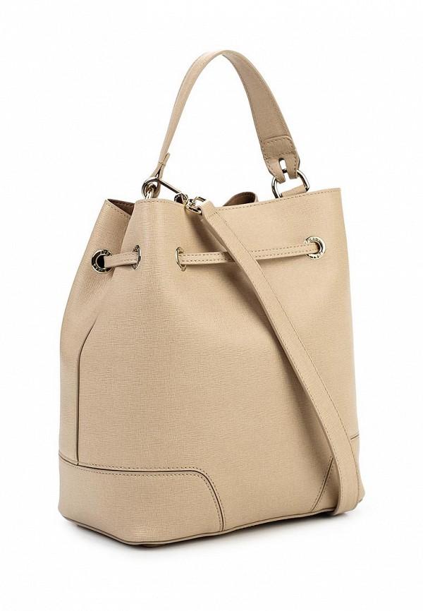 Бежевая кожаная сумка на цепочке Furla купить за 22500 руб