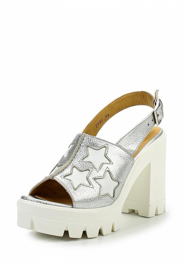 Женские серебряные кожаные босоножки на каблуке на платформе