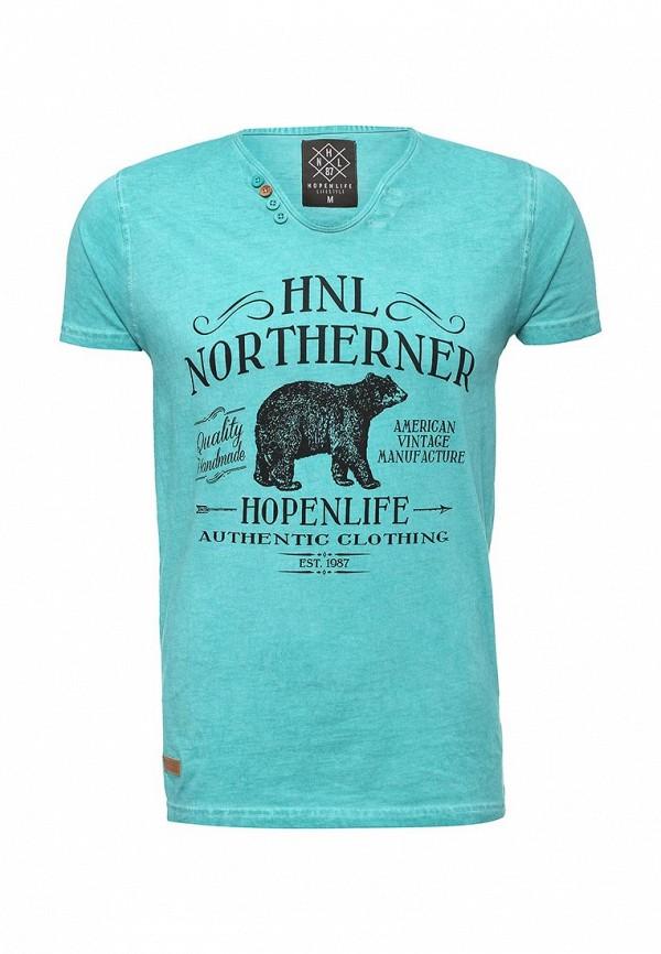 Купить мужскую футболку Hopenlife бирюзового цвета