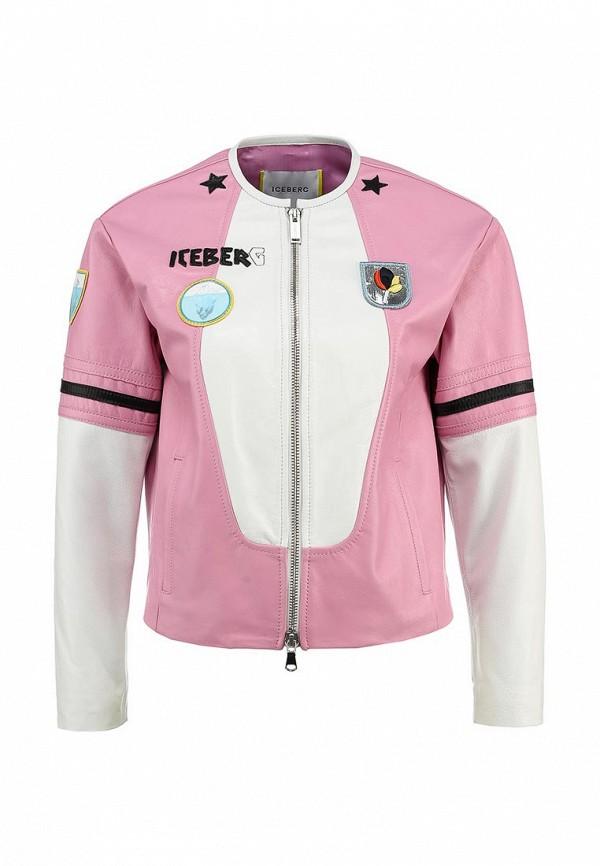 Куртка кожаная Iceberg. Цвет: розовый