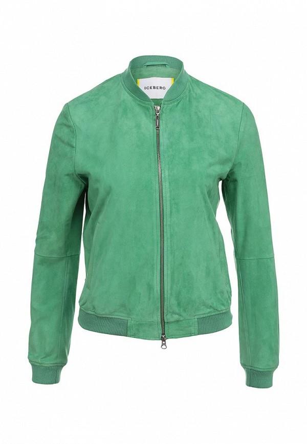 Куртка кожаная Iceberg. Цвет: зеленый