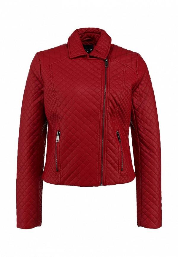 Куртка кожаная Incity IN002EWCKF24. Цвет: красный