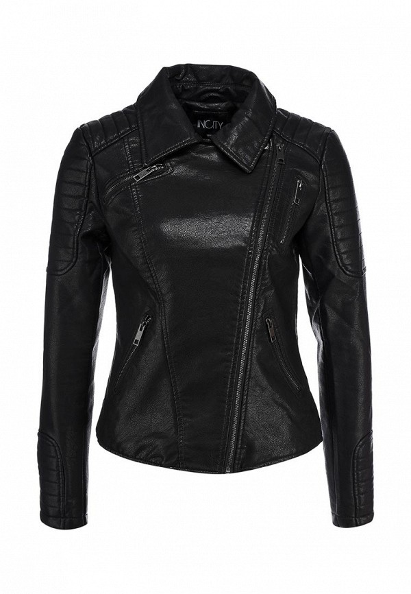 Куртка кожаная Incity IN002EWCTZ83. Цвет: черный