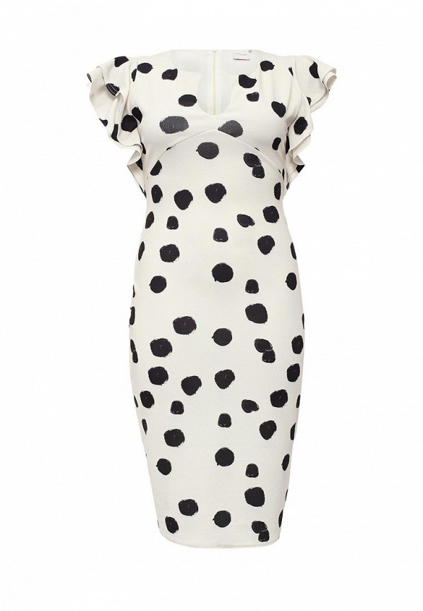 Платье Just Joan PENCIL DRESS WITH FRILL SLEEVE IN SPOT PRINT