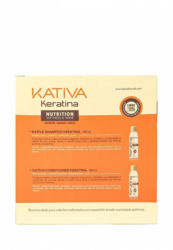 Набор Kativa KERATINA укрепляющий шампунь + конциционер с кератином для всех типов  волос, 2 по 100 мл