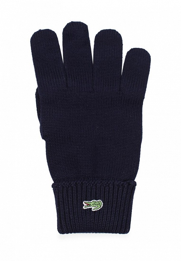 Фото 3 - мужские текстильные перчатки Lacoste синего цвета
