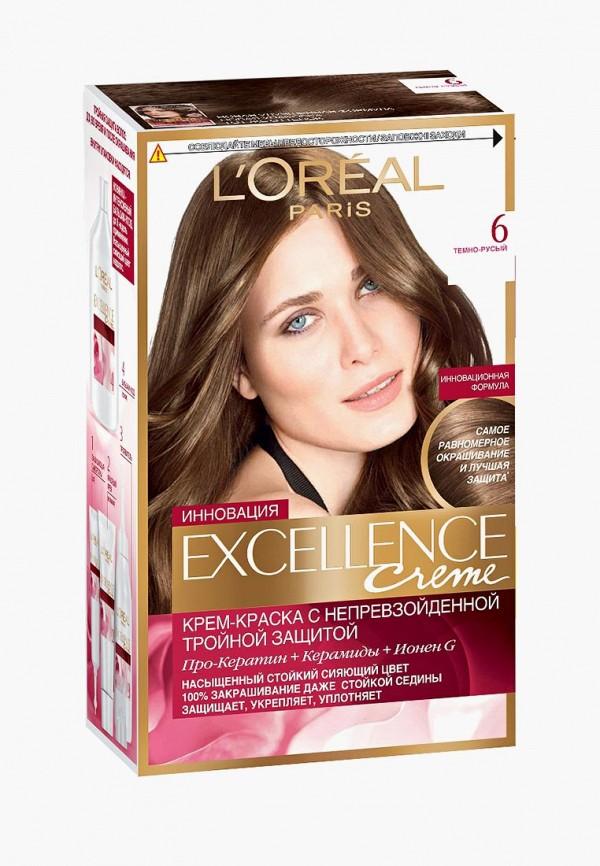 Купить Краска для волос L'Oreal Paris, Excellence , стойкая, оттенок 6, Темно-русый, LO006LWIVP13, коричневый, Весна-лето 2018