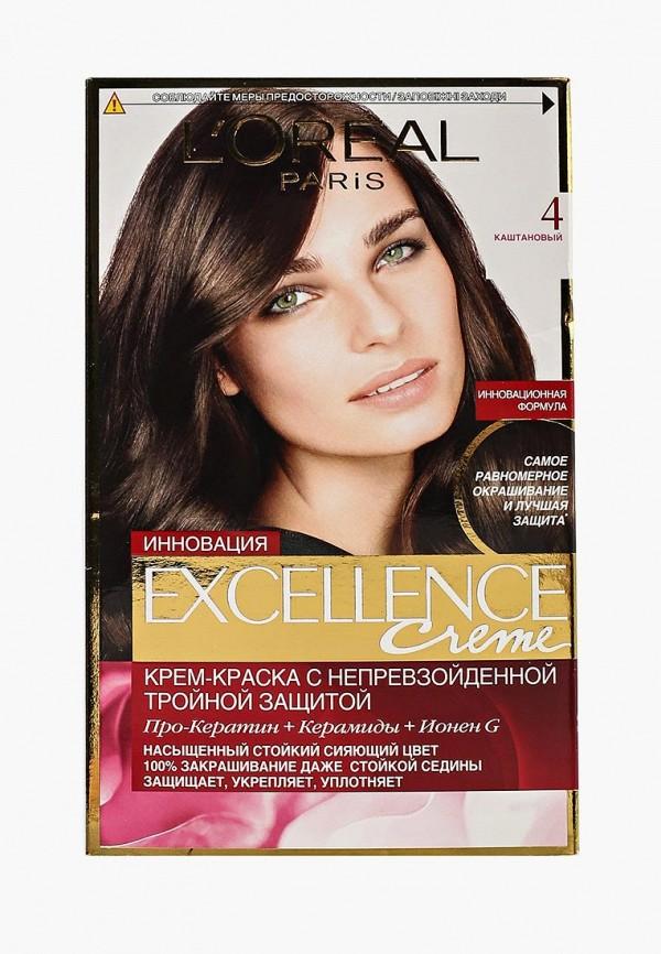 Купить Краска для волос L'Oreal Paris, Excellence, оттенок 4, Каштановый, LO006LWIVP17, Весна-лето 2018