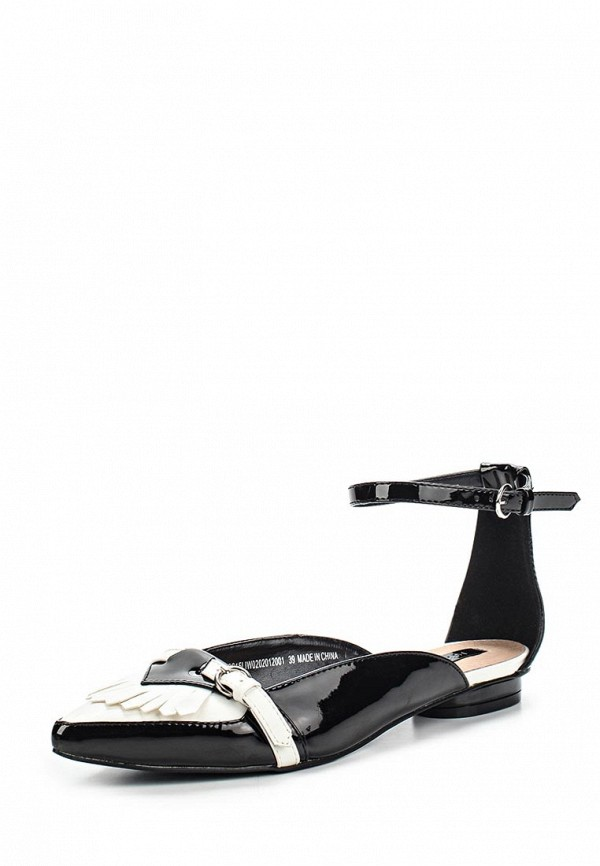 Балетки LOST INK Fringed Buckle Ankle Strap Ballerina Monochrome