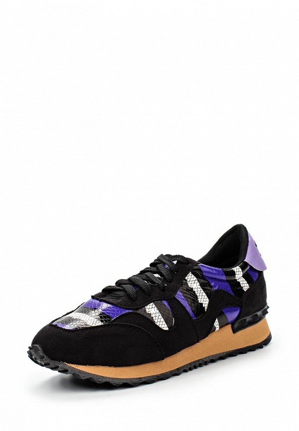 Кроссовки LOST INK SNEAK LACE UP TRAINER - BLACK/PURPLE