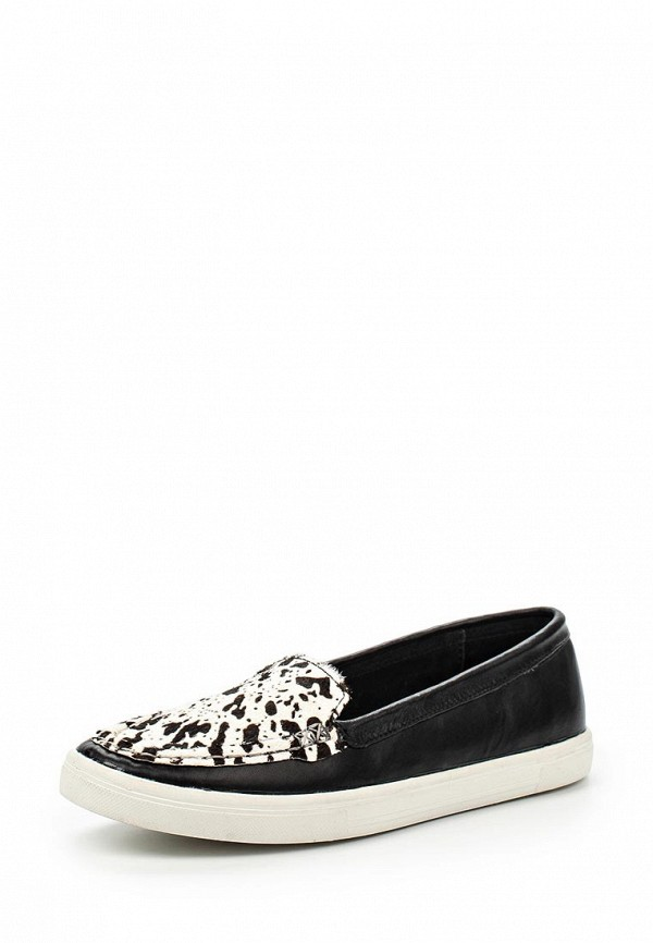 Эспадрильи LOST INK MAE LEATHER LOAFER PLIMSOLL - BLACK/COW PRINT