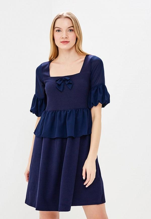 Купить Платье LOST INK, DOUBLE LAYER HYBRID FIT AND FLARE DRESS, LO019EWARJP0, синий, Весна-лето 2018