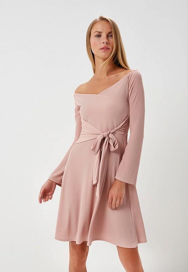 Купить Платье LOST INK, WRAP JERSEY FIT AND FLARE, LO019EWATWL8, розовый, Весна-лето 2018
