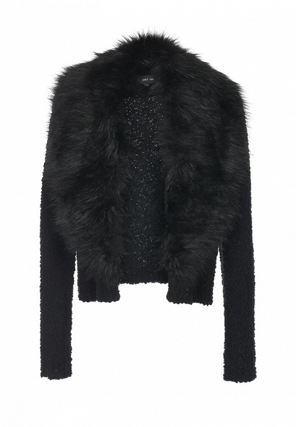 Кардиган LOST INK Pompom cardigan with fur collar