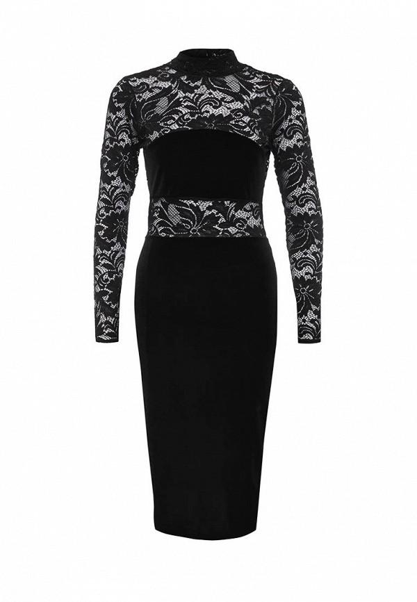 Купить Платье LOST INK, LAKE VELVET AND LACE LS DRESS, LO019EWOGY53, черный, Осень-зима 2016/2017