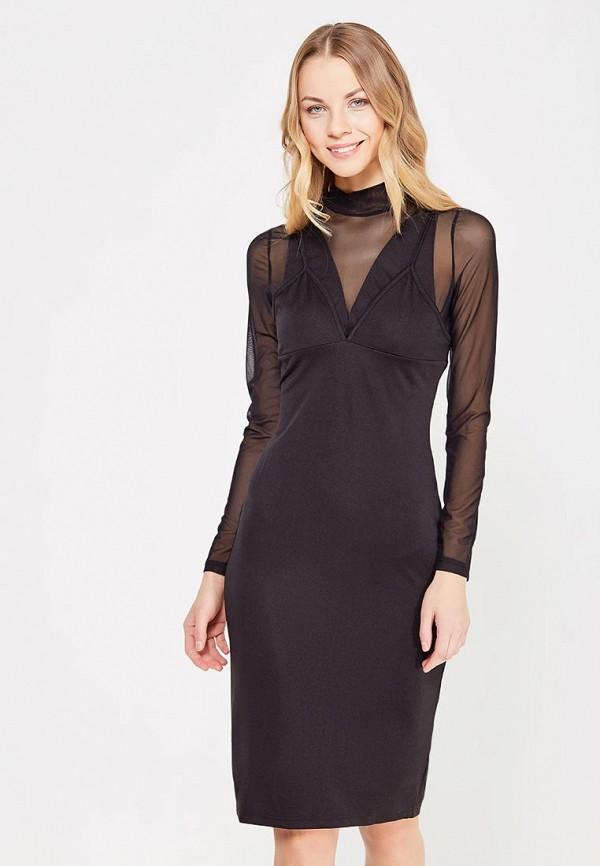 Купить Платье LOST INK, MESH LAYERED HIGH NECK DRESS, LO019EWYBP29, черный, Осень-зима 2017/2018