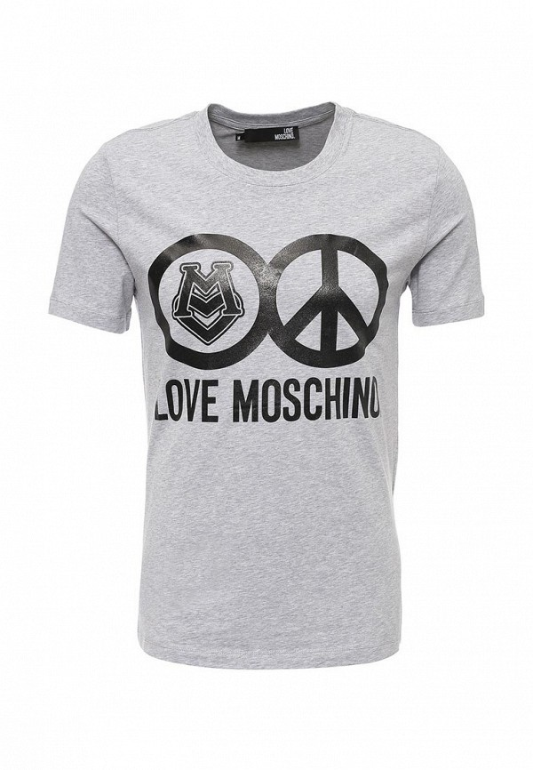 Купить мужскую футболку Love Moschino серого цвета