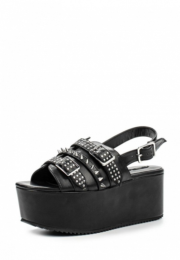 Женские черные кожаные сандалии на каблуке