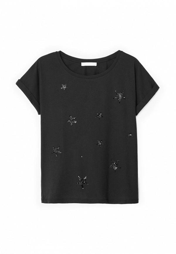 Женская черная футболка Mango