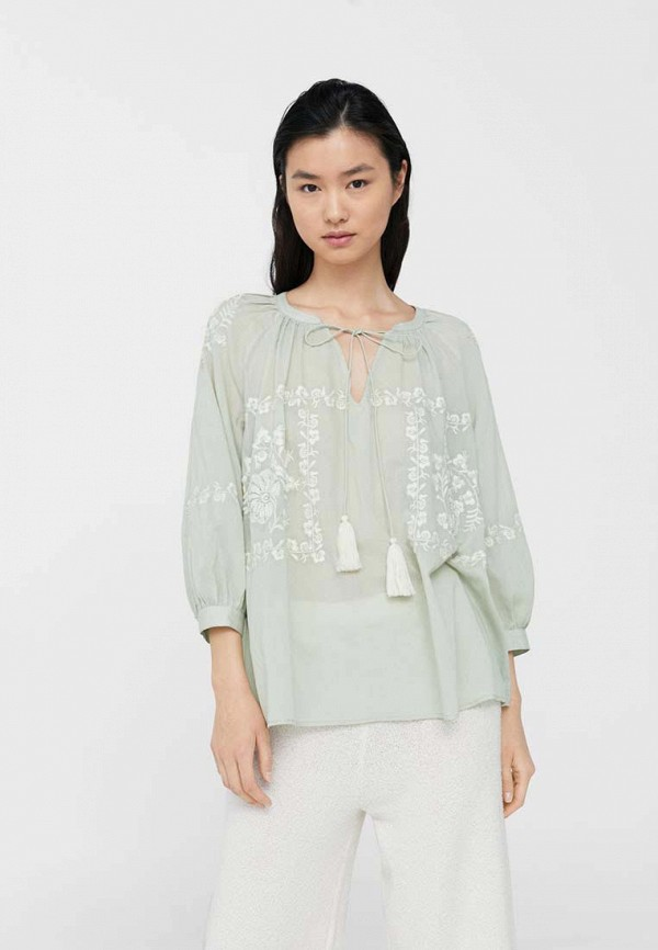 Фото - женскую блузку Mango бирюзового цвета