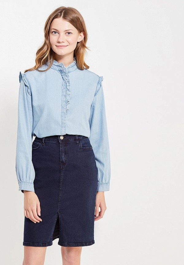 Фото - женскую рубашку Mango голубого цвета