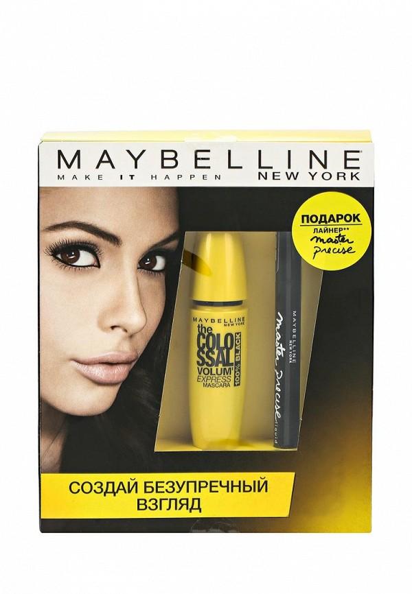 Набор Maybelline New York Тушь для ресниц The Colossal Volum Express, 100% черный, 10,7 мл + Лайнер Master Precise, черный, 1,1 мл