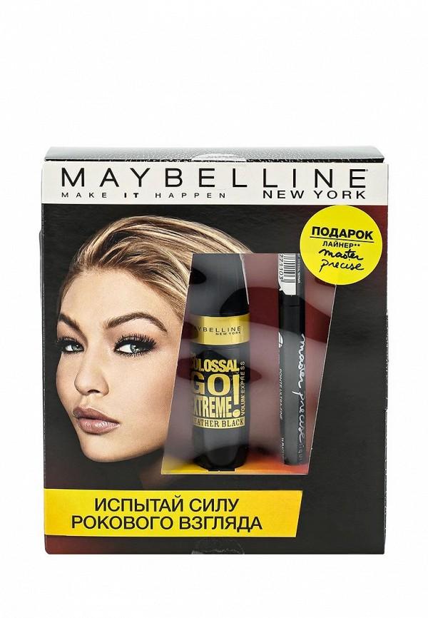 Набор Maybelline New York Тушь для ресниц Colossal Go Extreme, тон Leather Black экстрачерный, 9,5 мл, Лайнер Master Precise черный 1,1 мл