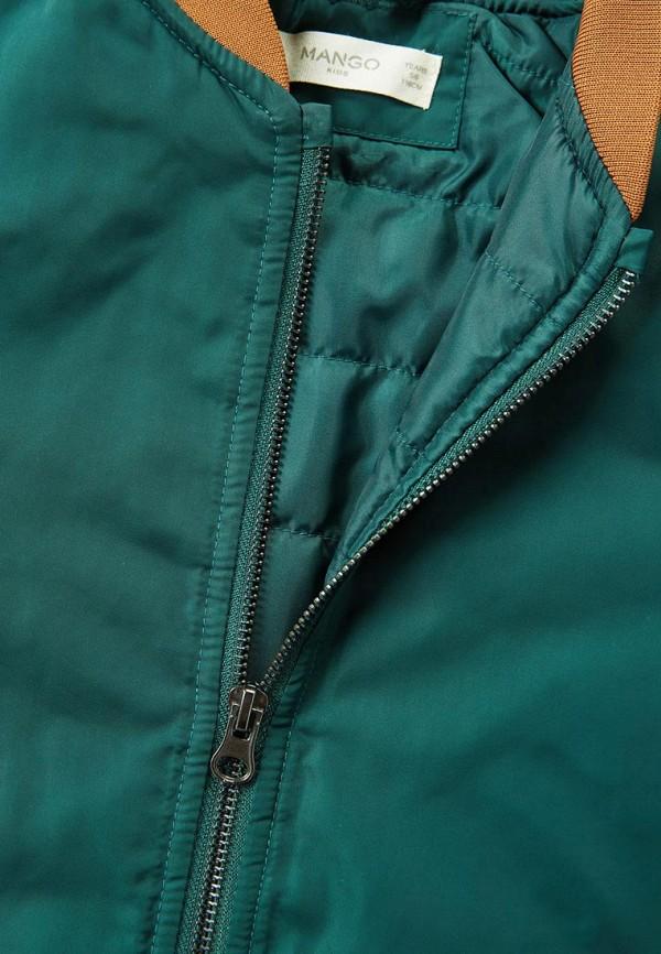 Фото 4 - Куртку утепленная Mango Kids зеленого цвета
