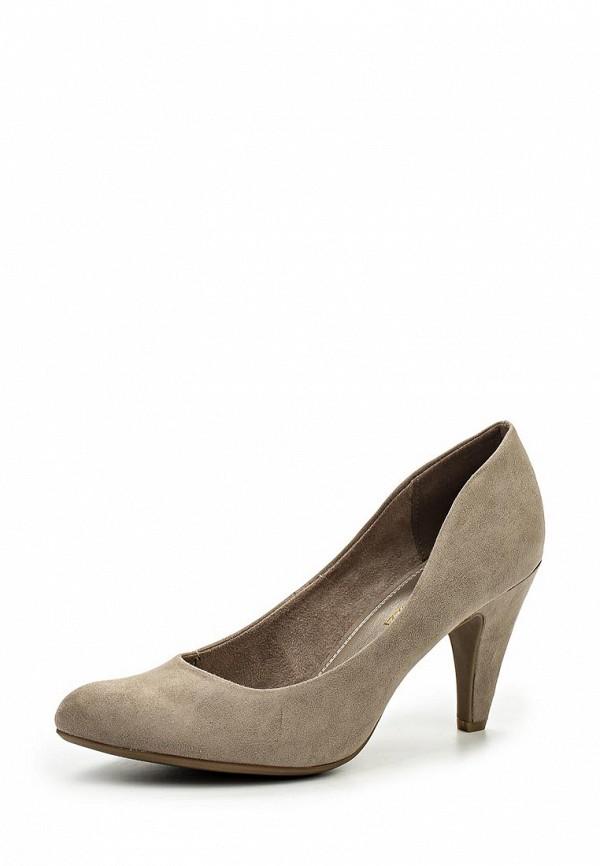 Женские серые текстильные туфли на каблуке