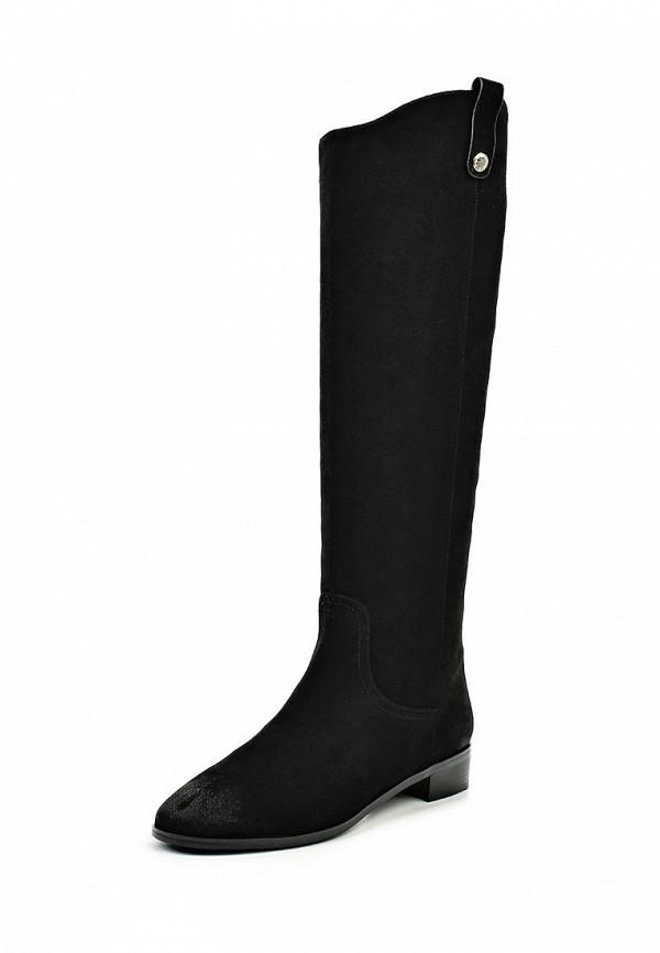 Женские черные итальянские осенние сапоги на каблуке