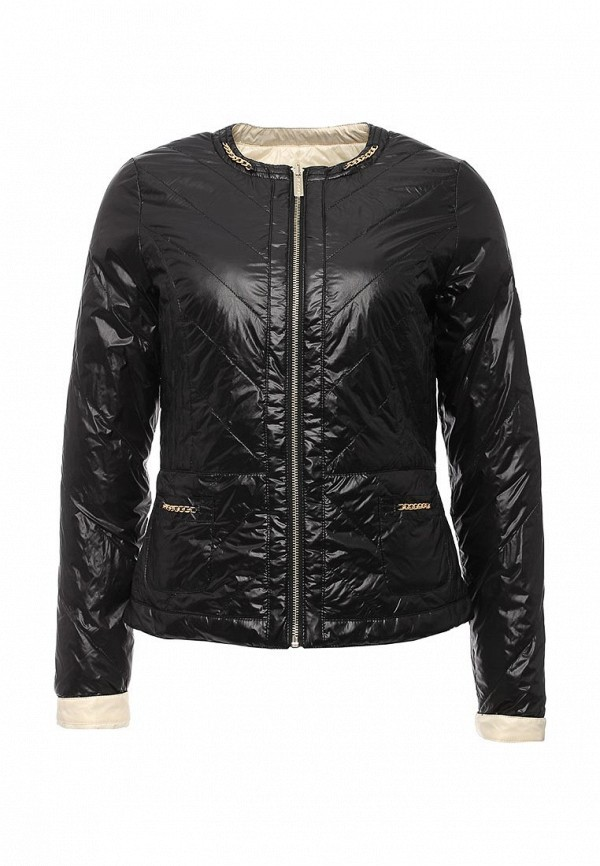 Женская черная утепленная осенняя молочная куртка