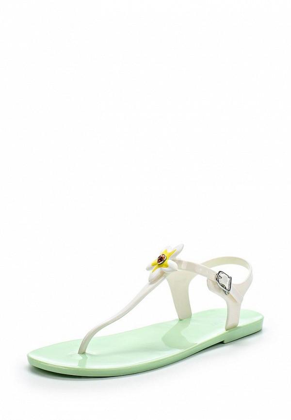 Женские белые зеленые сандалии
