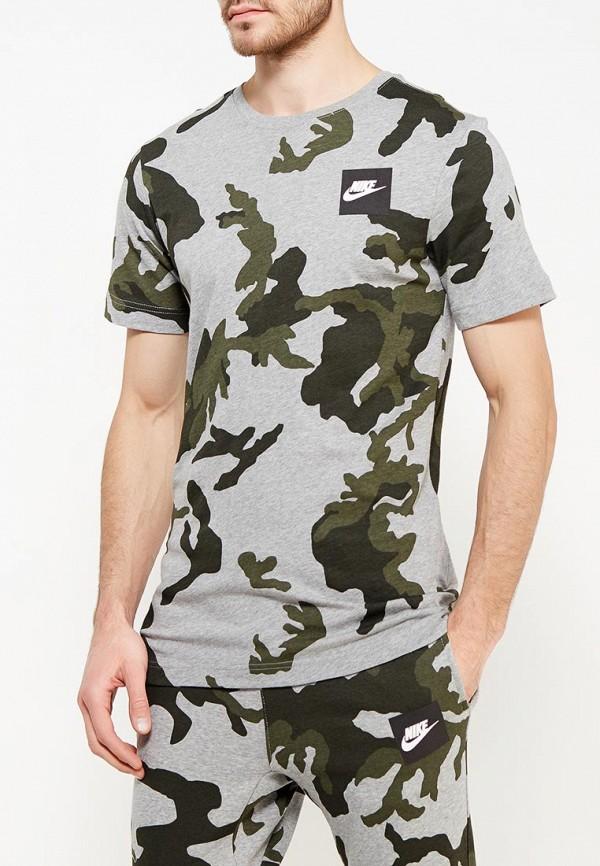 Фото 3 - мужскую футболку Nike серого цвета