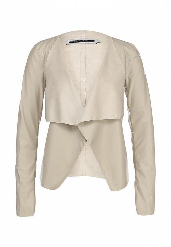 Куртка кожаная Noisy May NO963EWBZO08. Цвет: бежевый