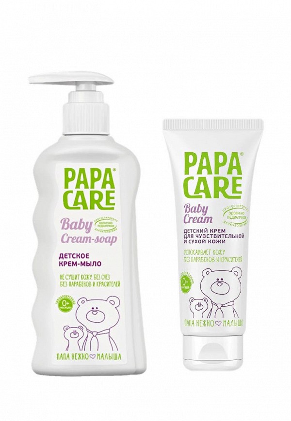 Купить Набор для ухода за телом Papa Care, Крем-мыло для детей 150 мл + крем для чувствительной кожи 100 мл ИН, PA073LKAYPM6, прозрачный, Весна-лето 2018
