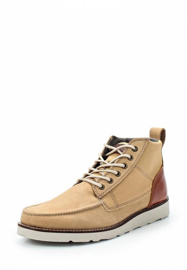 Мужские бежевые осенние кожаные ботинки из нубука